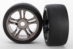 Колеса в сборе передние Tires & wheels, assembled, glued (split-spoke, black chrome wheels, slick tires (S1 compound), f - TRA6479