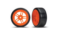 "Tires and wheels, assembled, glued (split-spoke orange wheels, 1.9"" Drift tires) (front)"