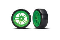 "Tires and wheels, assembled, glued (split-spoke green wheels, 1.9"" Drift tires) (front)"