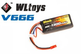 Аккумулятор LiPo 7,4В(2S) 1300 mAh 30C Soft Case JST-BEC plug (for WLToys V666)