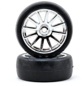 Диски с резиной Tires & wheels, assembled, glued (12-spoke chrome wheels, slick tires) (2) - TRA7573