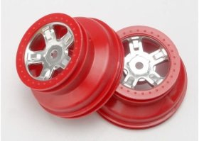 Диск колеса Wheels, SCT satin chrome, red beadlock style, dual profile (1.8'' inner, 1.4'' o - TRA7072A